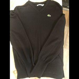 Lacoste izod Black Vintage V neck sweater